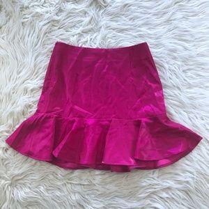 New Nasty Gal Shiny Hot Pink 80's Ruffle Skirt